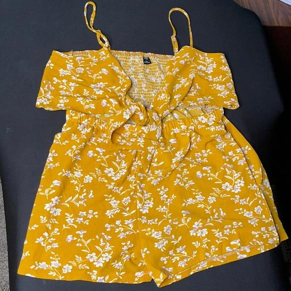 Gold, flower print, summer romper.